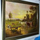 Milking Cows Karan Swiss Cattle Hereford In Pasture 1894 Original Antique Chromolithograph