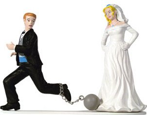 Unique and Fun Ball & Chain Bride & Groom Wedding Cake Topper  Top