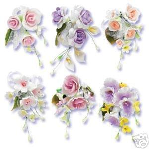 6 x Pastel Sugar Gum Paste Flower Wedding Cake Display Toppers