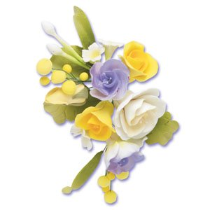 6 x DELUXE Lucianthus Yellow & Blue Mix Sugar Gum Paste Flower Wedding Cake Display Toppers