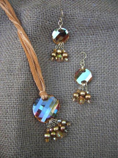 Swarovski Crystal Disc with Pearls on Silk