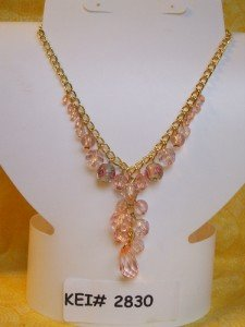 Pink Glass Bead Necklace Acrylic Rose Bead Accents