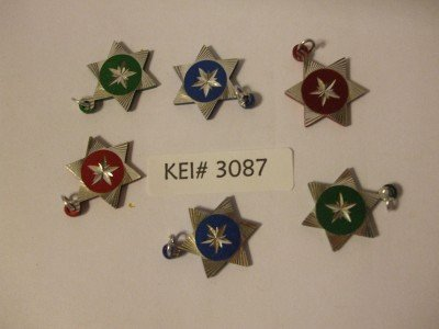 6 STAR PENDANTS Red Blue Green Silver Color