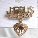 Jesus Heart Red Fashion Brooch Broach Pin Gold Tone Religious Spiritual