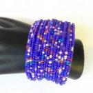 Purple Seed Bead Wire Wrap Cuff Bracelet
