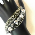 Black Silver Tone Faceted  Bead Bracelet Polka Dots Chains