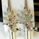 Multi Color Rhinestone Studded Peacock Salon Hair Clip Silver Tone Set 2