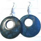 Teal Coconut Shell Round Dangle Earrings