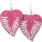 Fushia Pink Large Filigree Leaf Owl Fashion Dangle Earrings