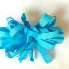 Aqua Loopy Curly Hair Bow Alligator Clip Barrette