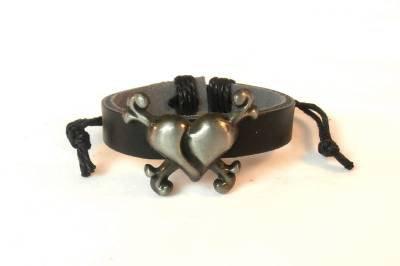 Black Hemp Leather Bracelet Polished Pewter Broken Cracked Heart Cross Bones