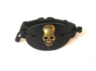 Black Hemp Leather Bracelet Gold Tone Skull