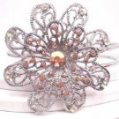 Silver Tone Orange Green Studded Flower Hinge Bangle Bracelet