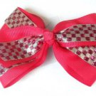 Pink Silver Checkered Hair Bows Alligator Clip Barrette