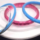 Lot 5 Pink  Blue Silver Tone Bangle Bracelets
