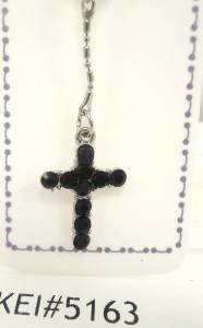 14 Gauge Black Crystal Cross Dangle Belly Button Navel Ring Body Jewelry