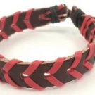 Red Brown Wrapped Leather Bracelet Surfer Wristband Ethnic Tribal Cool