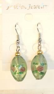Green Oval Silver Lampwork Pink Rose Millefiori Dangle Earrings