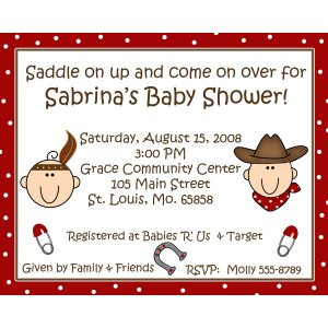 20 Personalized Baby Shower Invitations Cowboy and Indian