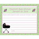 24 Baby Shower Personalized Advice Cards  - Stroller Design Mint and Lavendar