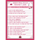 24 Bridal Shower Game Cards - Who Knows the Bride Best- Personalized HOT PINK MARTINI