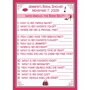 24 bridal shower game cards who knows the bride best personalized hot pink martini