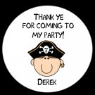 12 Custom Round 2 1/2 inch Stickers - PIRATE BIRTHDAY  PARTY