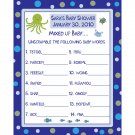 24 Personalized Baby Shower Word Scramble Game Cards  UNDER THE SEA