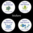 "20 Personalized Round 2"" Baby Shower Stickers  UNDER THE SEA"