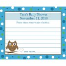 24 Personalized Baby Shower Advice Cards -  Baby Owl in Blue