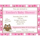 20 Personalized Baby Shower Invite  PINK Baby Owl