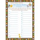24 Personalized Baby Shower A to Z Game Cards - Zoo Animals