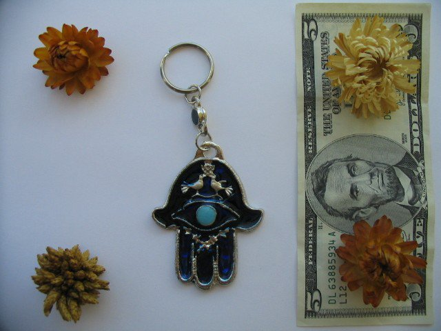 Blue hamsa with wealth bless and evil eye protection