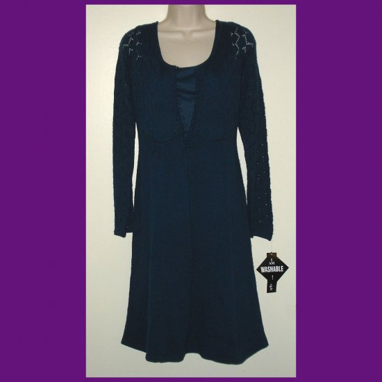 MADISON LEIGH Lapis Blue Knit Pointelle Empire Waist Women's Dress NWT NEW MSRP $78 Large