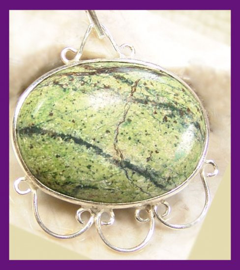 "Serpentine Jade Pendant in .925 Sterling Silver NEW 1.25"" x 1.5"""