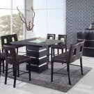 G072BT Wenge 7pc Bar Table Set with Brown Chairs by Global