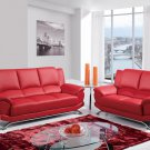 9908 2pc Red Bonded Leather Living Room Set