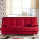 Vegas Red Microfiber Sofa Bed with Storage