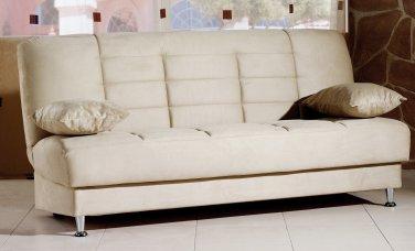 Vegas Beige Microfiber Sofa Bed with Storage
