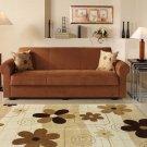 Elita Brown Microfiber Sofa Bed with Storage