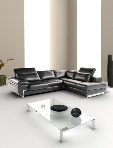Pallazo Black Italian Leather Sectional Sofa
