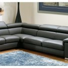 Dark Grey Leather Modern Sectional Sofa w/Adjustable Headrests