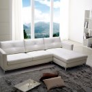 Maude Top Grains white Leather Sectional Sofa