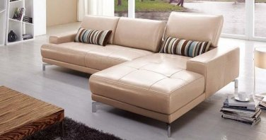 373 Taupe Leather Sectional Sofa