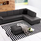 Canal Grey Italian Leather Sectional