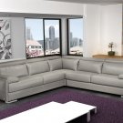 J&M Furniture Gary Italian Leather Sectional in Grey