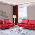 UFM151-R 2pc Red Bonded Leather Living Room Set