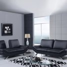 UFM151 2pc Black Bonded Leather Living Room Set