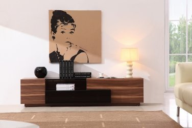 TV015 TV Stand Black Lacquer/Walnut by J&M Furniture