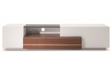 TV015 TV Stand White Lacquer/Walnut by J&M Furniture